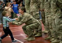 Kid breaks military protocol during the reuni