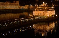 Golden temple illuminated excellently for Diw