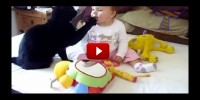 Funny cats and cute  babies playing together.
